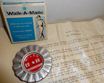 Vintage Walk-A-Matic Pedometer. Mint with directions and box.