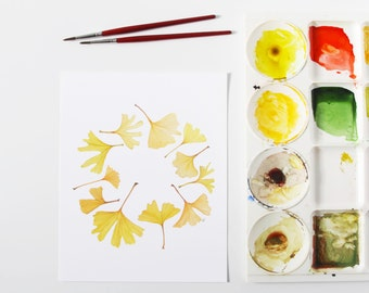 Gingko Leaves Watercolor Wreath Contemporary Botanical Fine Art Print / 8x10 / Realistic Woodland Nature Yellow Gold Autumn Gifts Under 30