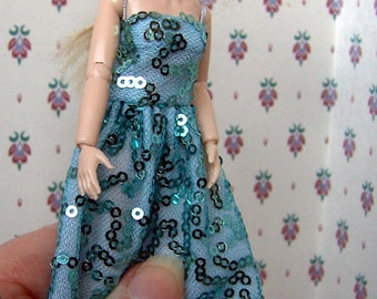 b6ae8934c Dollhouse party dress. 1 12 scale. Wear or display. Handmade. Dollhouse  clothes. Turquoise sequins. Heidi Ott.