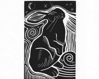 Hare Lino Print - The Hare and the Moon by Jennifer Rampling