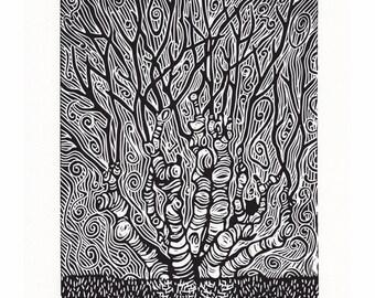 Tree Lino Print - 'The Changing Tree' by Jennifer Rampling
