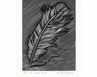 Feather Lino Print - 'The Fabled Feather' by Jennifer Rampling -
