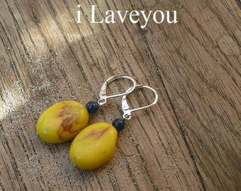 Earrings yellow and green blue natural gemstones.