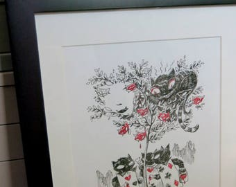 Kitty Tree, Original Ink Drawing 11x14 Emily The Strange by Buzz Parker Hand Colored Cheshire Cat Kitty Black 16x20 Alice in Wonderland