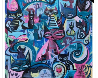 100 Cats, 11x14 Emily The Strange Art Print by Rob Reger Limited Edition Colorful Kitties