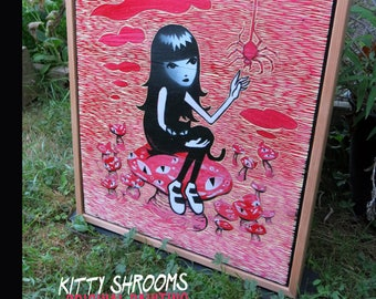Kitty Shrooms, ORIGINAL Carved Wood Painting, Framed 22x28 inches Emily The Strange Art by Buzz Parker One of a Kind Secret Garden Mushrooms