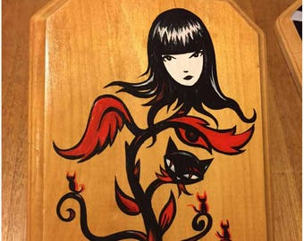 From a Bad Seed Grows Strange, Original Painting On Wood Emily The Strange Art by Rob Reger Black Cats Kitty