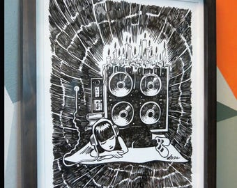 Sound System, Original Ink Drawing 11x14 Emily The Strange by Buzz Parker Music Kitty Black Sweet Dreams Rock 'n Roll Catnap