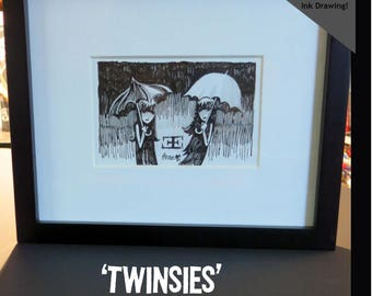 Twinsies, Original Framed UNPUBLISHED Ink Drawing Emily The Strange Art by Buzz Parker Black Cats Kitty Zen Doodle 3.5x5 Inches 9x11 Frame