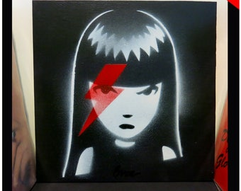 A Girl In Sane, Original Acrylic on Wood Painting Emily The Strange Art by Buzz Parker David Bowie 12x12 Album Cover One-Of-A-Kind