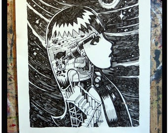 Stargazer, 12x15 Original UNPUBLISHED Ink Drawing Emily The Strange Art by Buzz Parker Black Cats Kitty Music Starry Night Astrology