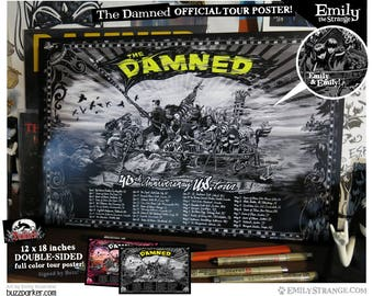 The Damned 40th Anniversary US Tour Poster 12x18 Double-Sided by Emily Illustrator Buzz Parker Smash It Up Punk Rock New Rose Blackout