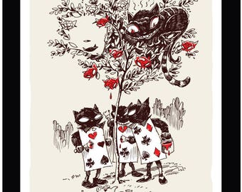 Kitty Tree, #11 of 13 Art Print 11x14 Emily The Strange by Buzz Parker Cheshire Cat Kitty Black Ink Drawing Limited Edition