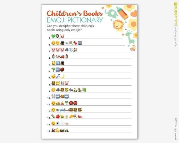 Emoji Pictionary Baby Shower Game / Instant Digital ...