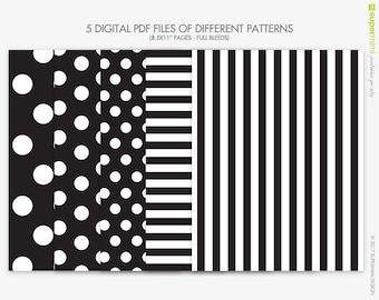 Black and White Stripes Polka Dots Backgrounds / Instant Digital Download