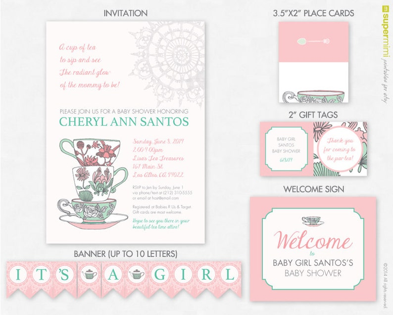 Incredible Personalized Baby Shower Tea Party Pink Green Invite Party Set Customized Printable Download Download Free Architecture Designs Xerocsunscenecom
