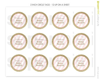 Customized Gold Glitter and Pink Stripes 2 Inch Round Labels / Customized Digital Printable File