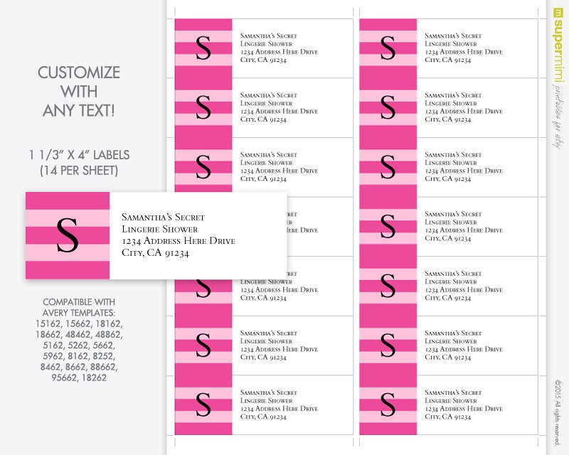 Pink Stripes Initial Address Labels Labels Customized Etsy