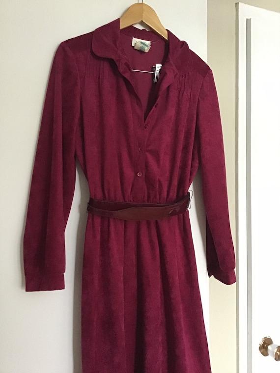 70s velveteen cranberry wine maroon coloured dress