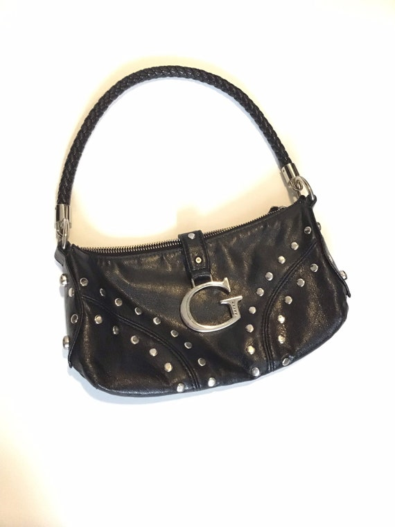 Y2K guess logo mini bag black leather with silver