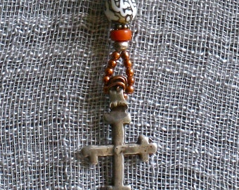 Antique Silver Ethiopian Cross, Amulet necklace, Copper beads,Coral, Shell OM bead