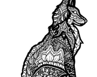 Red Fox Henna Greeting Card