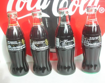 """Complete Set of 4 Sealed Coca Cola """"It's time to Remember the Magic"""" Walt Disney World Commemorative Bottles 25th Anniversary"""