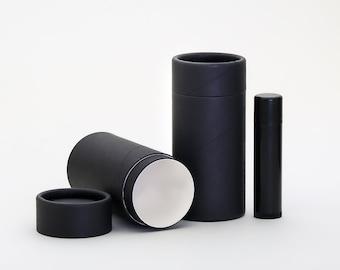 Eco Friendly 70 ML - 12 PACK Deodorant Tube  - BLACK Cardboard 100% Biodegradable Cosmetic Push Up Tubes  -