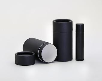 Eco Friendly 40 ML - 15 PACK Deodorant Tube  - Black Cardboard 100% Biodegradable Cosmetic Push Up Tubes  -