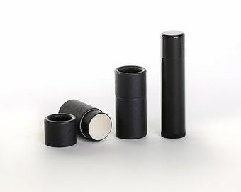 Eco Friendly 1/5 OZ - 50 PACK Lip  Balm Tube  - Black Cardboard 100% Biodegradable Cosmetic Push Up Tubes
