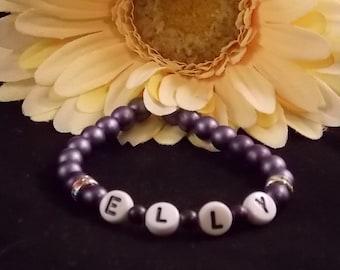 Beaded Name Bracelet; Name Bracelet; Stretch Bracelet