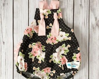 Pink and Black Romper , Pink Baby Romper , Floral Baby Romper , Easter Romper , Baby Easter Romper , Pink Floral Romper , Toddler Romper