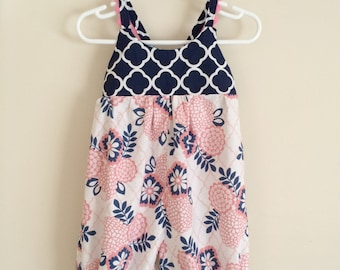 Pink and Navy Romper , Pink Toddler Romper , Pink Peony Romper , Navy Baby Romper , Navy Toddler Romper , Pink and Navy Floral Romper