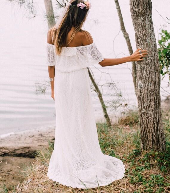 50% Deposit, Divine Flutter Sleeve Bridal dress with small train, Bohemian beach wedding dress