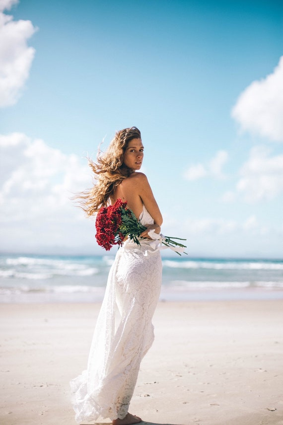 Divine Mermaid Bohemian wedding dress with train, Beach Boho Wedding dress