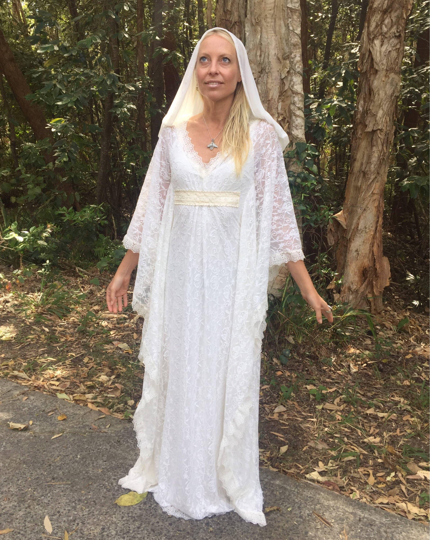 Angel Hood Veil Lace Bohemian Beaded Bridal Kaftan Dress Gypsy