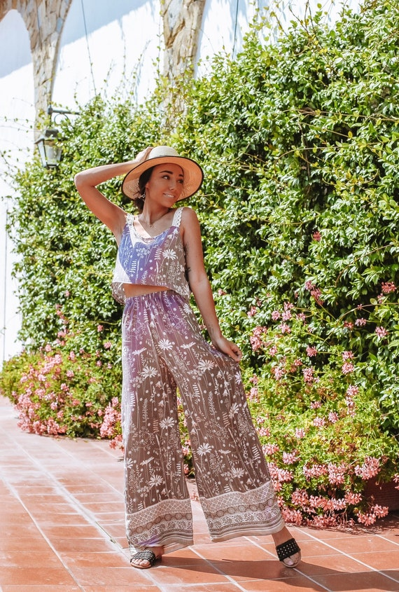 Wildflower Palazzo Flare Pant set, Retro Jumpsuit set