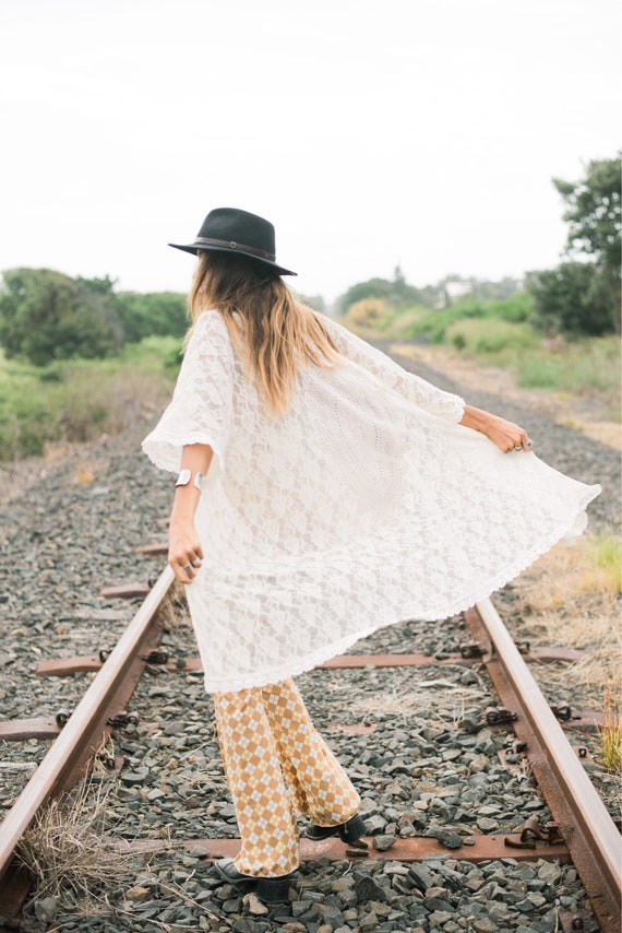 Shadow Mandala Vintage Lace Fringe Kimono, Bohemian Vintage Cotton Lace cover up | Beach Wedding gown