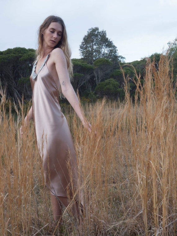 Nude Copper Satin Beaded low back Dress, Bohemian Prom Bridesmaid dress