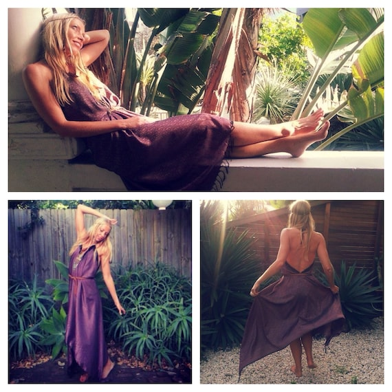 Amethyst Sundancer Vintage Silk Dress, Bohemian dress