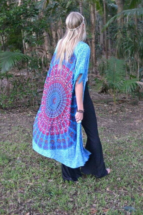 Mandala Peacock Kimono Duster, Gypsy Beach