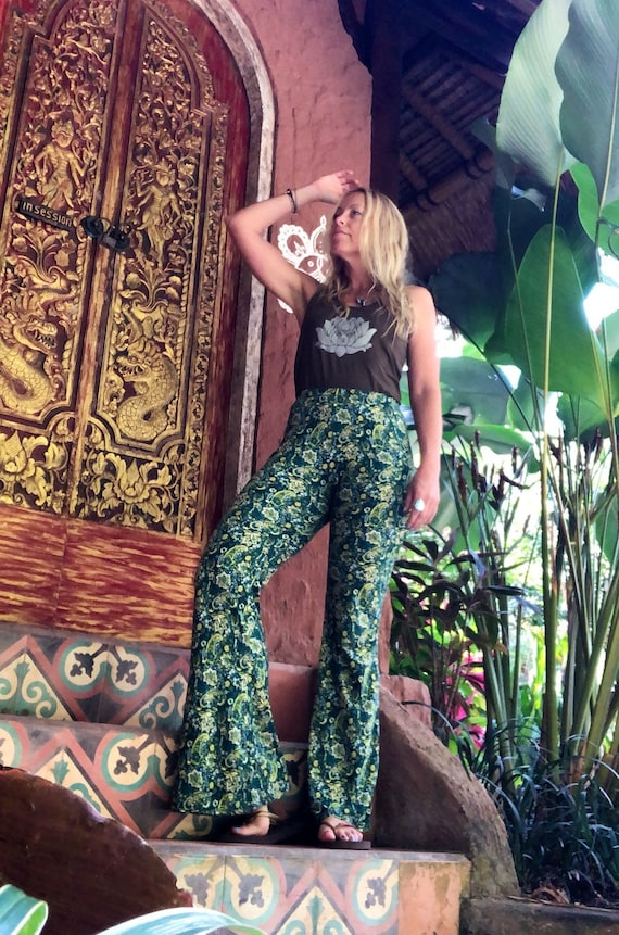 Paisley Queen 70s bell bottom Flare Pants, Retro trousers