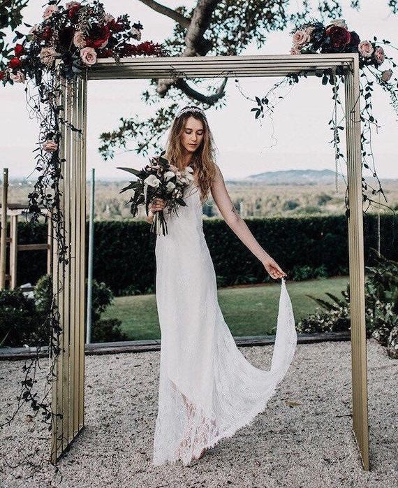 50% Deposit Chantilly Dream Lace low back Boho Wedding dress, Bohemian wedding gown