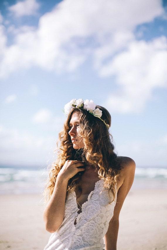 50% Deposit Chantilly Mermaid Bohemian wedding dress, Lace up back Boho Wedding dress