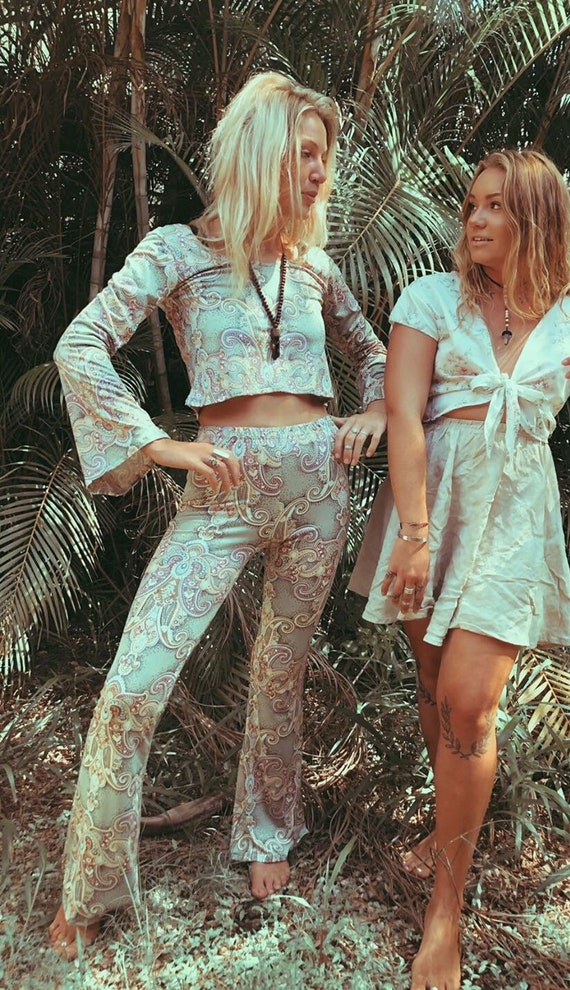 Boheme Queen 70s bell bottom Flare Pants, Retro trousers