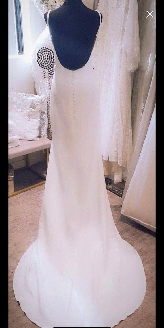 50% deposit. Luna Crepe low neckline Wedding Gown,  Boho Gypsy Bride Dress