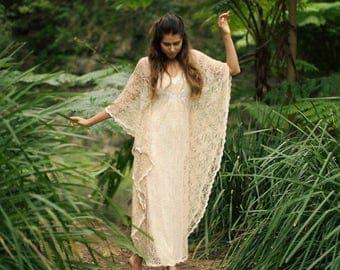 Angel Lace Bohemian Beaded Bridal Kaftan Dress, Gypsy Caftan Wedding Dress