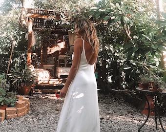 Luna Crepe low neckline Wedding Gown,  Boho Gypsy Bride Dress
