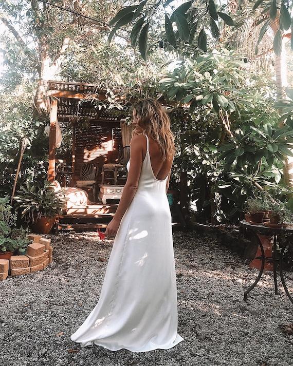 Luna Bamboo Satin Wedding Gown,  Boho Gypsy Bride Dress