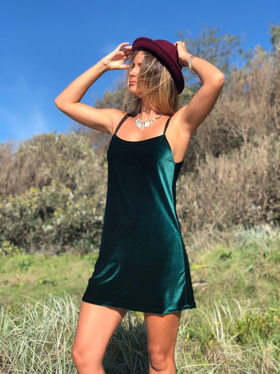 Retro Velvet Mini Dress, Boho velvet Dress